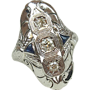 Big Art Deco 18k White Gold .53 ctw Sapphire and Diamond Ring