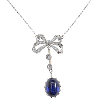 Edwardian Diamond and Sapphire Bow Necklace 3.30 ctw~ 18k Gold and Platinum