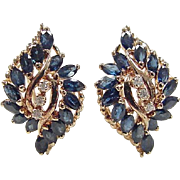 Vintage 14k Gold 3.94 ctw Sapphire and Diamond Omega Back Earrings