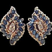 Vintage 14k Gold 3.94 ctw Sapphire and Diamond Omega Back Earrings