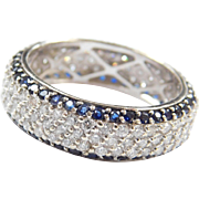 14k White Gold Wide 2.80 ctw Sapphire and Diamond Eternity Band Ring ~ Unisex
