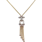 Vintage 14k Gold Two-Tone Sapphire and Diamond Necklace