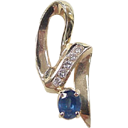 Vintage 14k Gold 1.13 ctw Natural Sapphire and Diamond Pendant
