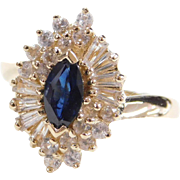Vintage 14k Gold Sapphire Marquise and Diamond Ring