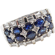 Vintage 14k White Gold 3.15 ctw Sapphire and Diamond Ring