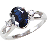 Vintage 14k White Gold Created Sapphire and Diamond Ring