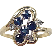 Vintage 14k Gold .87 ctw Sapphire and Diamond Ring
