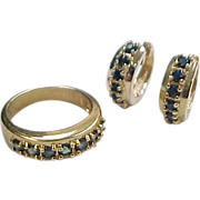 Vintage Gold Vermeil Natural Sapphire Huggie Hoop Earrings and Ring Set