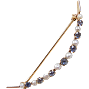 Edwardian 14k Gold Sapphire and Seed Pearl Crescent Brooch / Pin