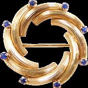 Vintage 18k Gold Round Sapphire Pin / Brooch