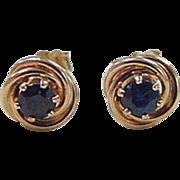 Vintage 14k Gold .76 ctw Sapphire Stud Earrings