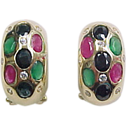 Vintage 14k Gold Sapphire, Ruby, Emerald and Diamond Earrings