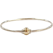 Sterling Silver and 14k Yellow Gold Screw Bead Bangle Bracelet