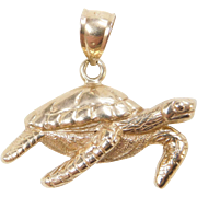 Vintage 14k Gold Sea Turtle Charm
