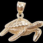 Vintage 14k Gold Sea Turtle Charm