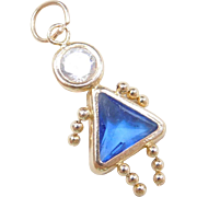 September Birthstone Baby Girl Charm 14k Gold Faux Sapphire and Faux Diamond