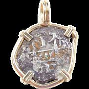 Authentic Spanish Sunken Treasure Shipwreck Atocha Coin Pendant 1 Reale ~ 14k Gold Bezel