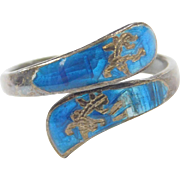 Sterling Silver SIAM Goddess Blue Enamel Bypass Ring