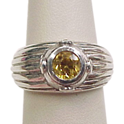 Vintage Sterling Silver Yellow Sapphire and Faux Diamond Ring