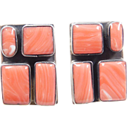 Vintage Sterling Silver Big Coral Stud Earrings