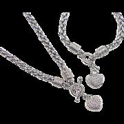 Vintage Sterling Silver Diamond Heart Set ~ Bracelet and Necklace