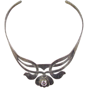 Vintage Sterling Silver Faux Diamond Collar Necklace
