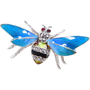 Germany Sterling Silver Colorful Enamel and Marcasite Bee Pin / Brooch