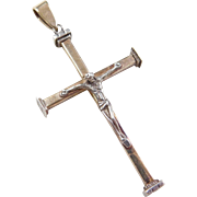 Vintage 14k Gold and Sterling Silver Crucifix Cross Pendant