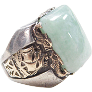 BIG Gents Sterling Silver & 10k Gold Jade Ship and Fish Ring