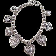 """Vintage Sterling Silver Heart Charm Bracelet ~ 6 7/8"""""""