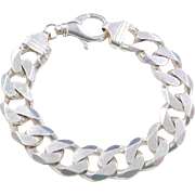 HEAVY Sterling Silver Gents Curb Link Bracelet ~ 9 1/2""