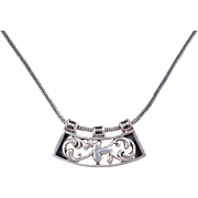 Sterling Silver Ornate Necklace ~ 17 1/2""