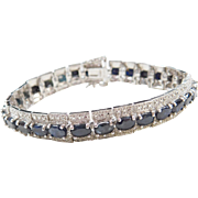 Sterling Silver Natural Sapphire and Diamond Bracelet ~ 7""