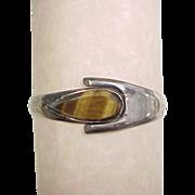 Sterling Silver Tigers Eye Hinged Bangle Bracelet