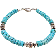 Sterling Silver Turquoise Bead Bracelet ~ 8""