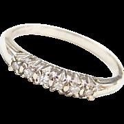 Vintage 14k White Gold .12 ctw Diamond Wedding Band Ring