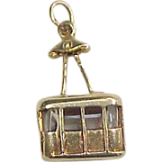 Vintage 14k Gold Moving Ski Lift / Gondola Lift Charm
