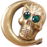 Vintage 10k Gold Skull and Crescent Moon Pin with Green Glass Eyes