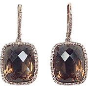 Vintage 14k Rose Gold 13.70 ctw Smoky Quartz Diamond Halo Earrings