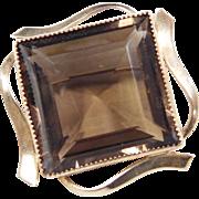 Vintage 12k Gold Filled Smoky Quartz Pin / Brooch