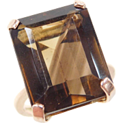 Vintage 14k Gold 23.35 Carat Smoky Quartz Ring
