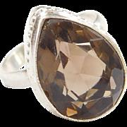 Sterling Silver 10.80 Carat Smoky Quartz Ring