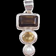 Sterling Silver Smoky Quartz, Citrine and Pearl Pendant