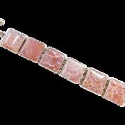 """Sterling Silver Charles Albert Snakeskin Agate Bracelet ~ 7"""" - 8 1/4"""""""