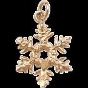 Vintage 14k Gold Snowflake Charm