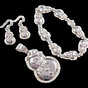 Sterling Silver Snowman Set ~ Pendant, Earrings and Bracelet