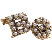Vintage 10k Gold Seed Pearl BO Sorority Pin / Brooch