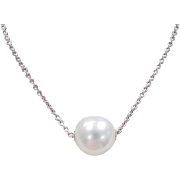 Vintage 18k White Gold Cultured South Seas Pearl Necklace ~ 18""