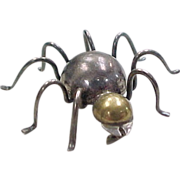 Vintage Sterling Silver Two-Tone Spider Pin / Brooch