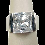 Vintage Sterling Silver Big Square Faux Diamond Ring